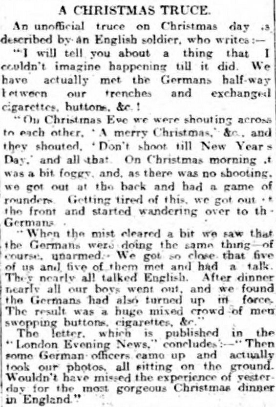 A report about the WW1 Christmas Truce, published in the Liverpool Daily Post