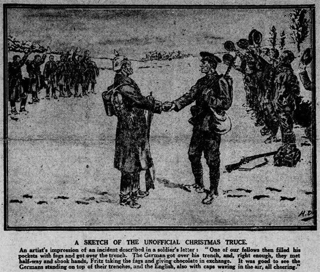 An illustration of the 1914 Christmas Day Truce was printed in the Nottingham Evening Post