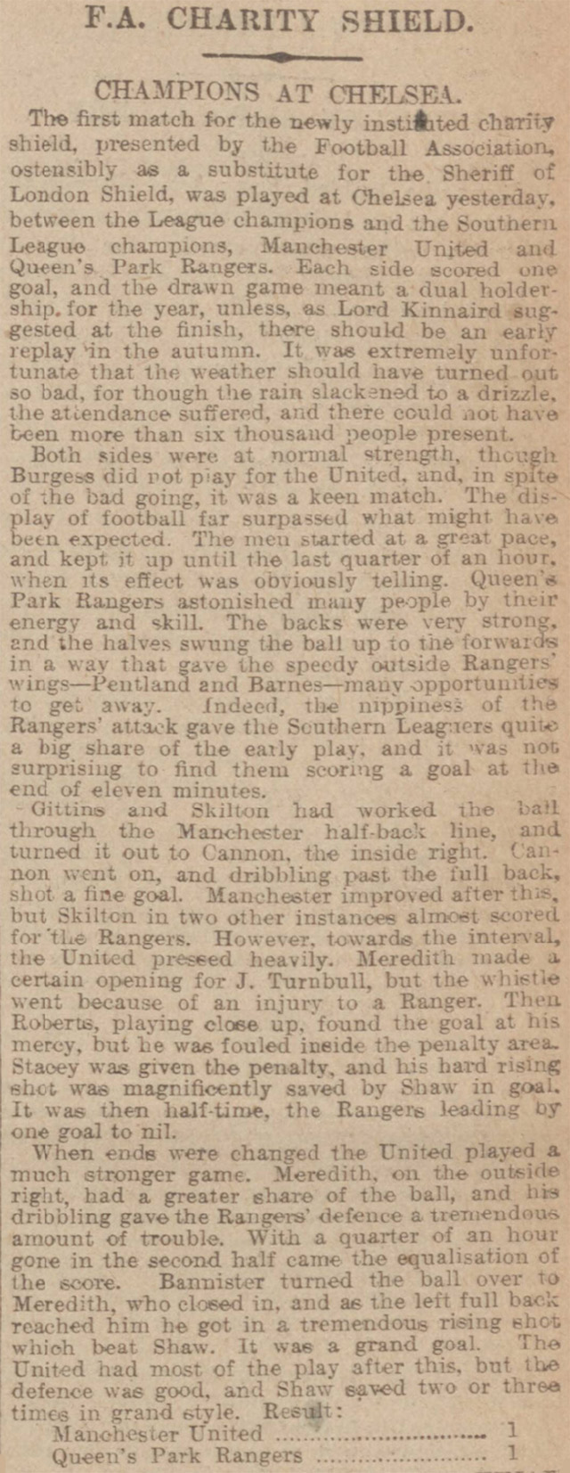 The result of the FA Charity Shield in 1908, reported by the Manchester Courier and Lancashire General Advertiser