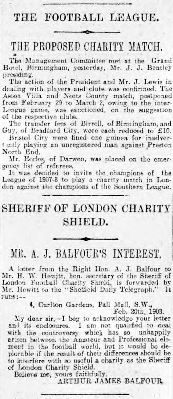 The introduction of the FA Charity Shield, reported in the Sheffield Evening Telegraph in 1908.