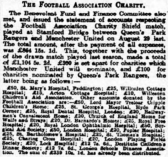 The result of the 1908 FA Charity Shield was reported in the Yorkshire Post and Leeds Intelligencer