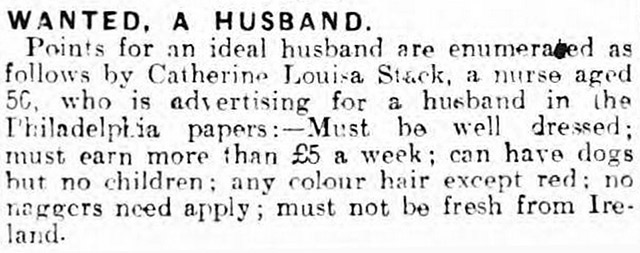 An advert for a husband in the Lancashire Evening Post in 1920