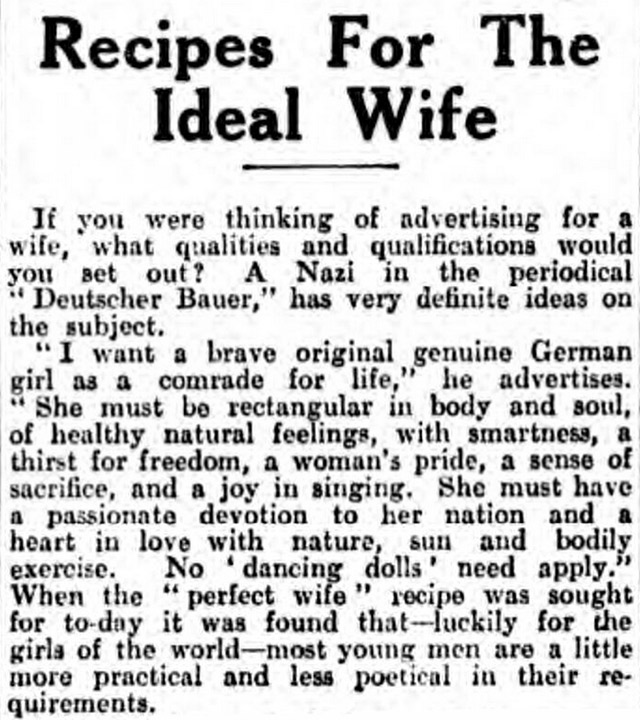 Nazi advert for a wife, printed in the Gloucester Citizen in 1933