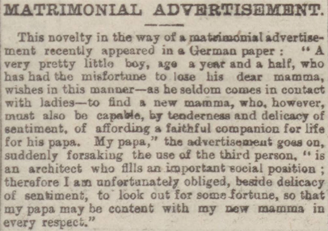 A matrimonial advert mentioned in the Leeds Times in 1894