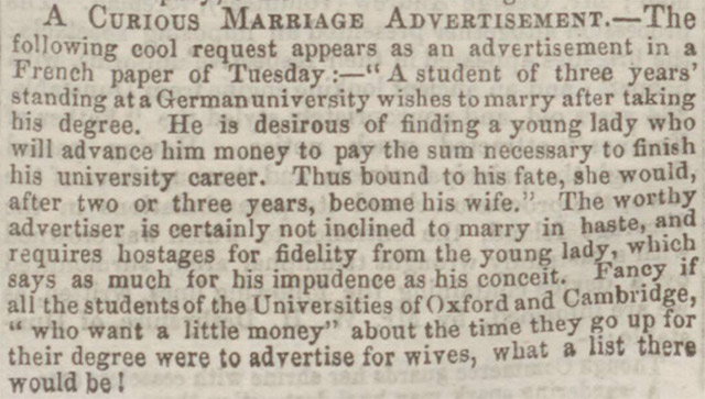 A curious marriage advertisement was reported by the Bedfordshire Times and Independent in 1863