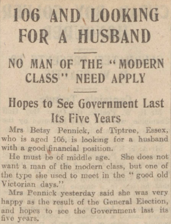A 106-year-old woman's search for a husband was reported by the Dundee Courier in 1924