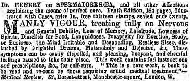 An advert from Dr Henery's treatment was printed in the Era in 1864