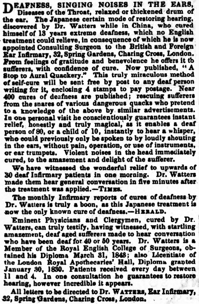 An advert for Dr Watter's treatment was printed in the Cheltenham Looker-On in 1858