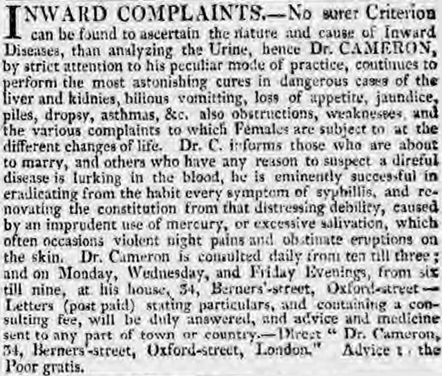 Advertisement headed 'Inward Complaints' in the Morning Chronicle 3 Sept 1817