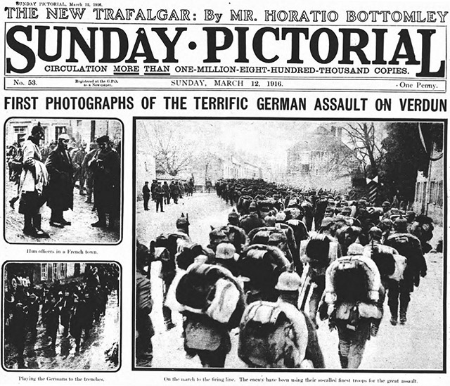A copy of the Sunday Pictorial (now known as the Sunday Mirror) from 1916.