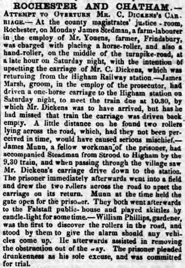 The Maidstone Telegraph's report about an attempt to overturn Charles Dickens' carriage