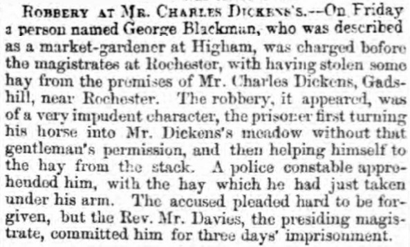 A robbery at Charles Dickens' house was reported by the Dover Express in 1859