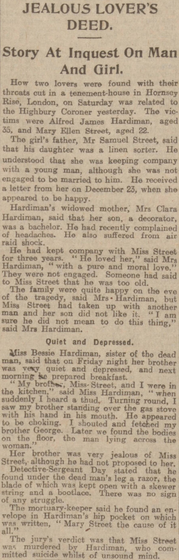 The Dundee Courier reported the tragic story of Alfred Hardiman and Mary Street in 1923.