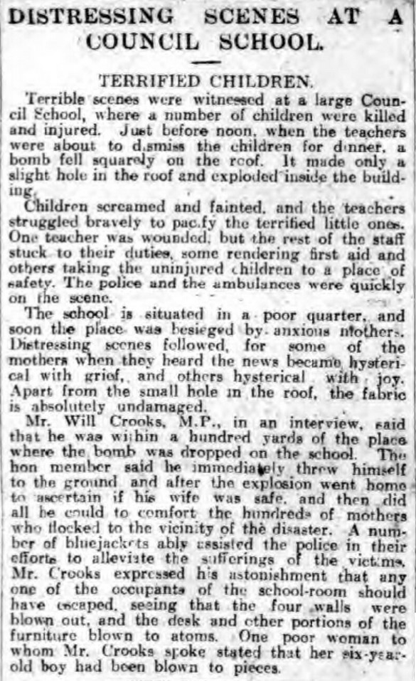 Distressing scenes were reported in newspapers following an air raid in 1917
