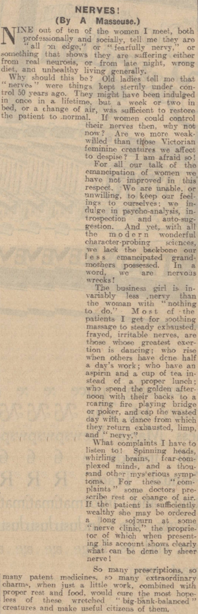 The Nottingham Evening Post's views on people's nerves after WW1