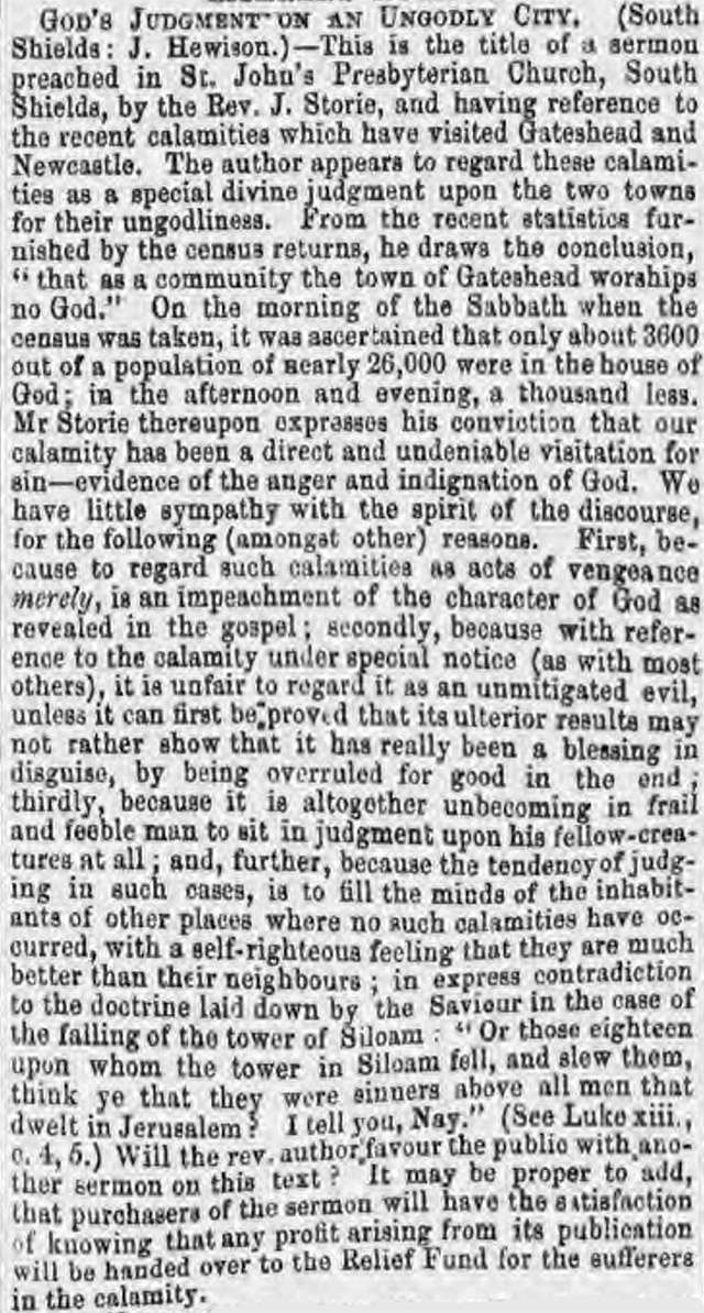 Reverend John Storie claimed that Newcastle's great fire in 1854 was 'God's Judgement on an Ungodly City'
