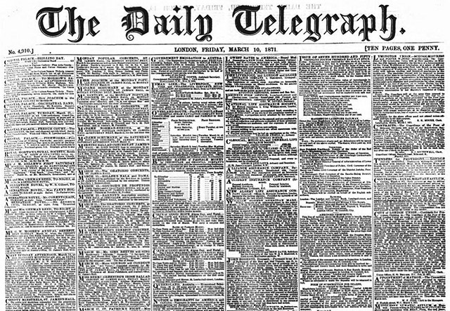 The newspaper archives of the Daily Telegraph are being made available online by The British Newspaper Archive