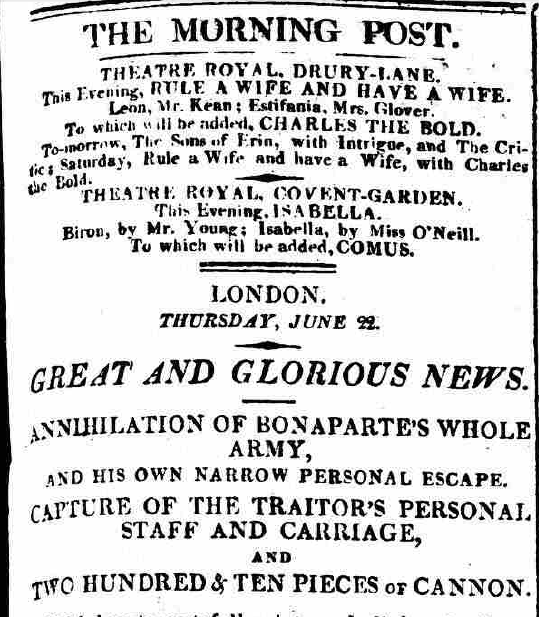 Morning Post, Thursday 22 June 1815