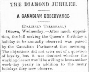 Queen's Birthday Holiday in Canada - Aberdeen Journal - Thursday 06 May 1897