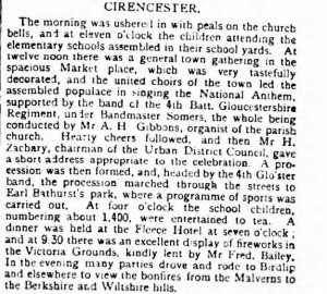 Cirencester celebrates - Swindon Advertiser and North Wilts Chronicle - Saturday 26 June 1897