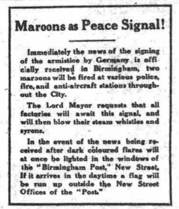 Birmingham Mail 9 November 1918 © THE BRITISH LIBRARY BOARD. ALL RIGHTS RESERVED