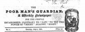 Masthead of The Poor Man's Guardian 1st edition July 9 1831 United Ireland 1st issue August 13 1881