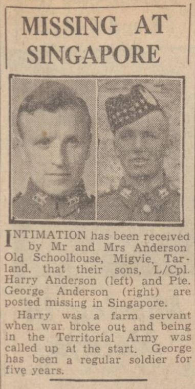 Aberdeen Journal - Monday 23 March 1942 - the Andersons - appear to have been held in the same camp