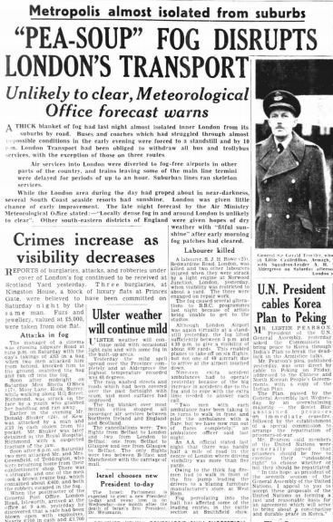 London fog crime rise The Northern Whig 9 Dec 1952