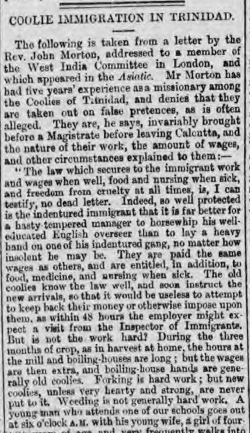 Coolie Immigration in Trinidad Glasgow Herald 6 May 1873