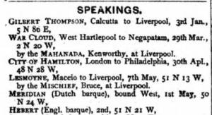 Lloyd's List, Speakings, 14 May 1870