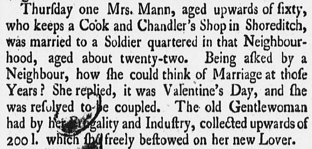 Derby Mercury, 15 February 1750  You'll see from this article that the printed lowercase s looks like a lowercase f. This is called the long, medial, or descending s. By the early 1800s, the use of the long s had all but vanished.
