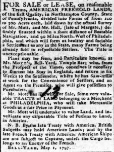 Land for Sale America Hampshire Chronicle May 1797