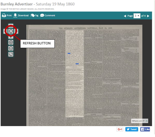 Refresh button on British Newspaper Archive