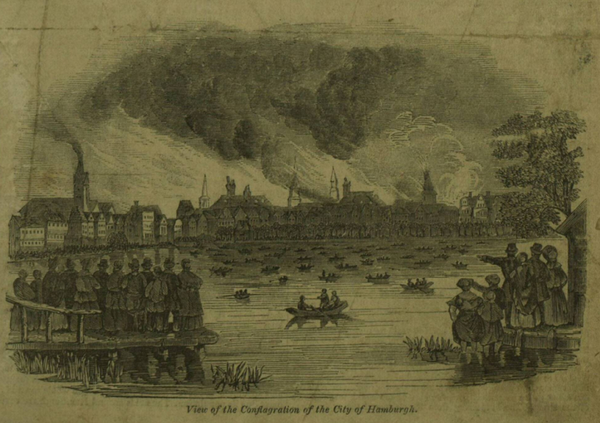 Fire in city of Hamburg, 1842, Illustrated London News