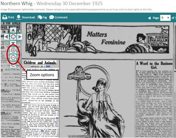 Zoom options on British Newspaper Archive