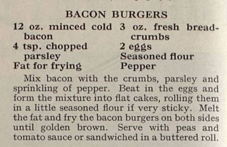 Bacon burger recipe, Britannia and Eve, 1956