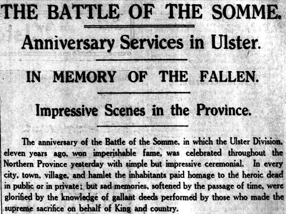 Anniversary services for Battle of the Somme