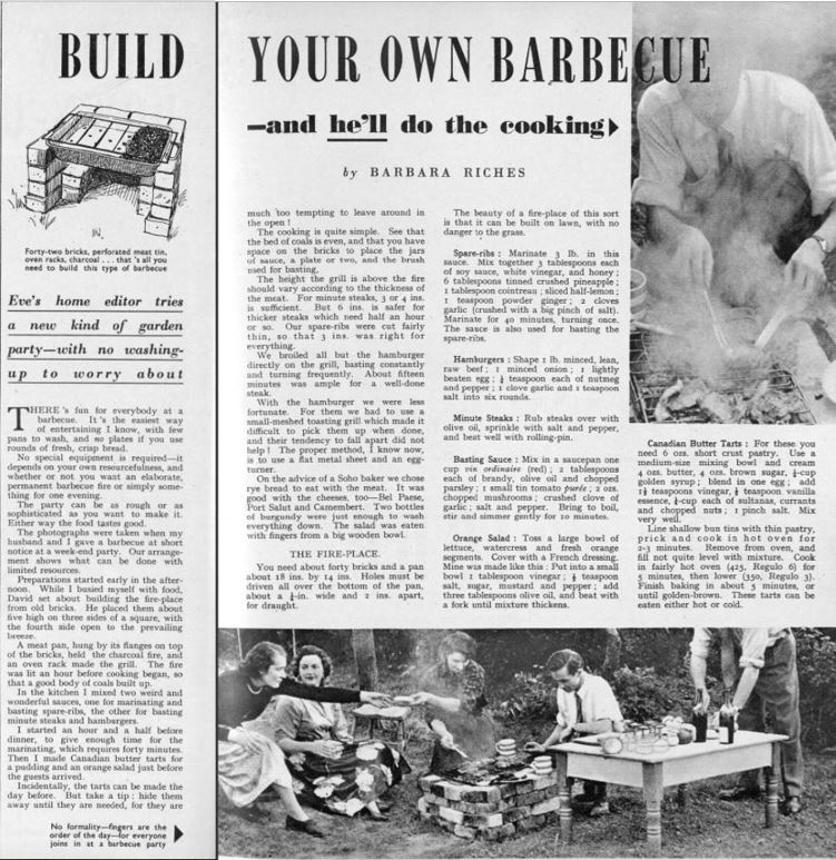 Build your own barbecue, Britannia and Eve, 1956