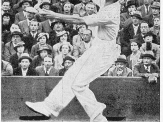 Fred Perry at the French Open in 1935