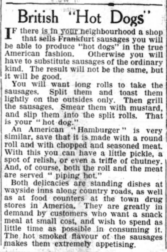 British Hot Dogs, Northern Whig, 1938