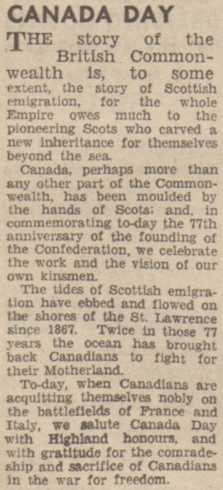Canada Day celebrated by Scots