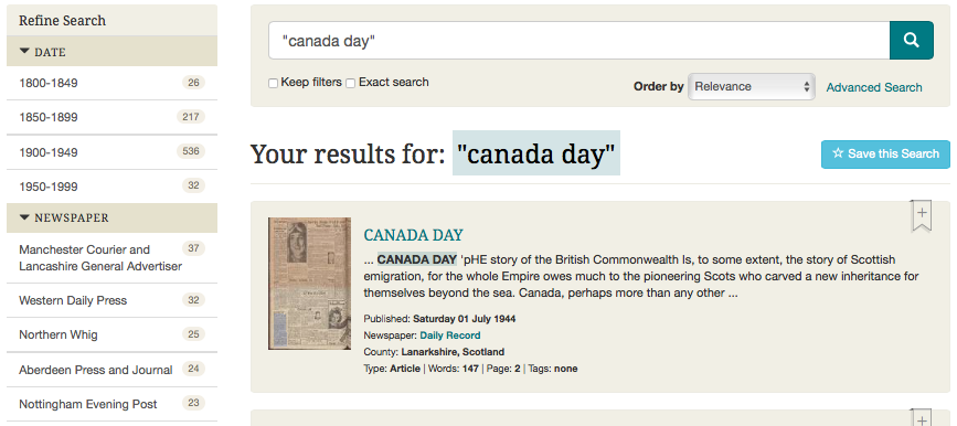 'Canada day' search