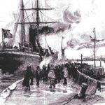 Emigrant leaving the harbour. The Graphic. October 1891