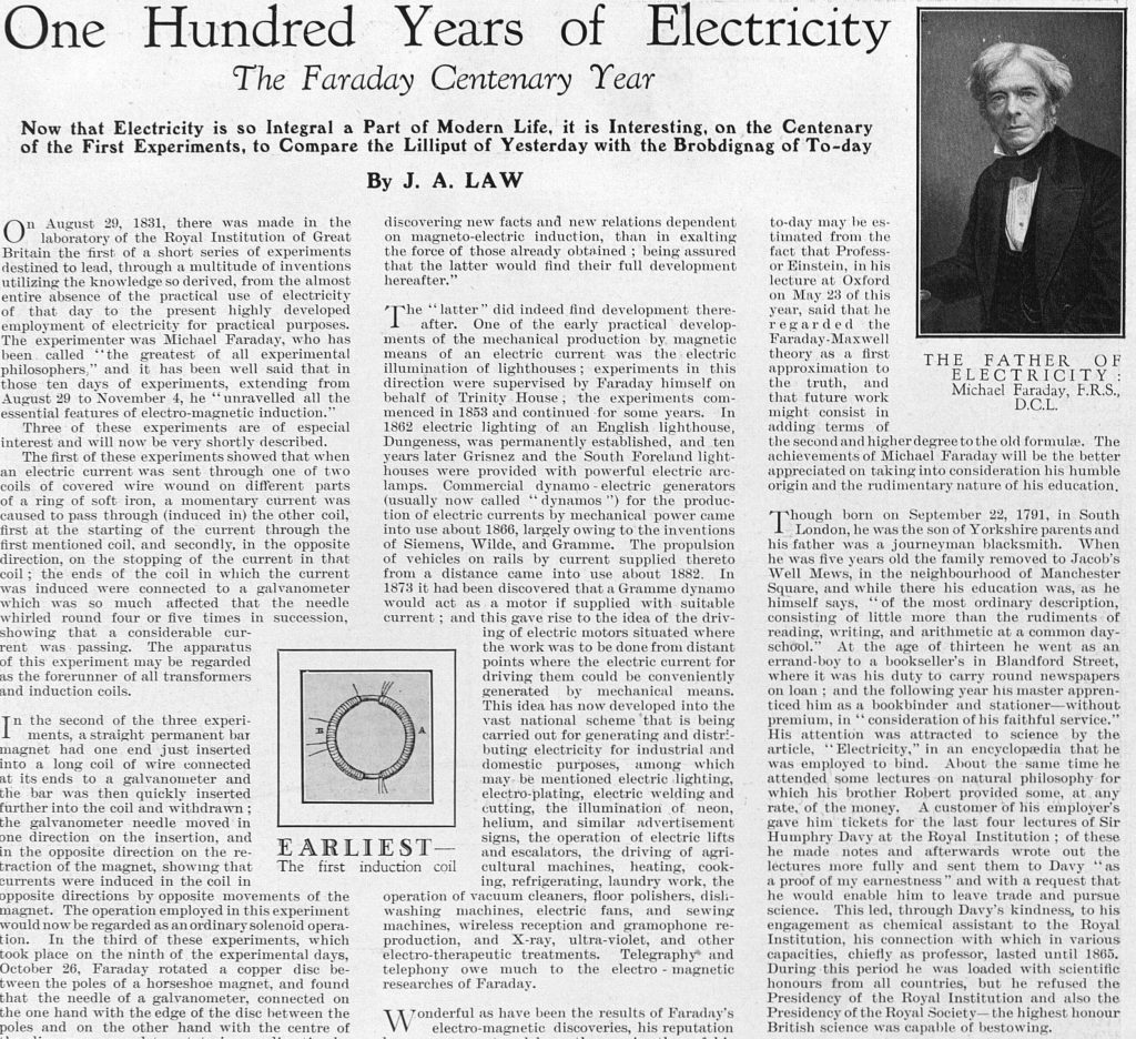 Faraday the father of electricity