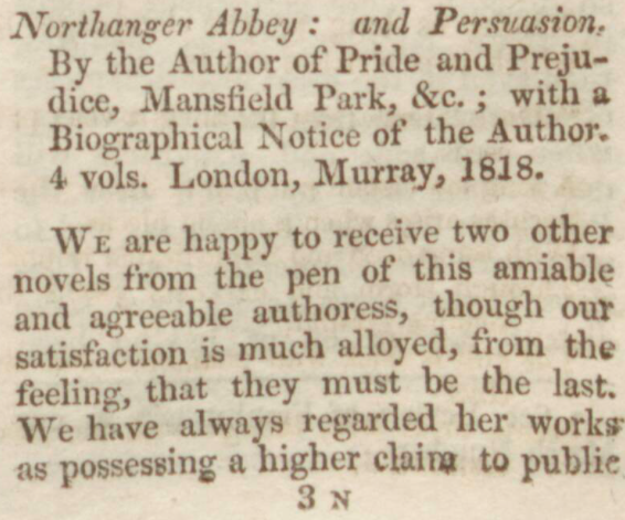 Review of Jane Austen's Northanger Abbey and Persuasion