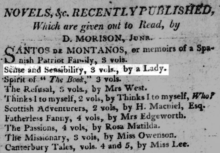 Notice for Sense and Sensibility