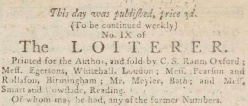 Austen's The Loiterer advert