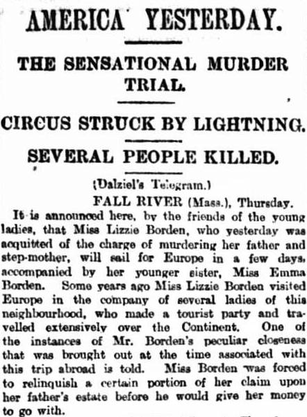 Lizzie Borden acquitted