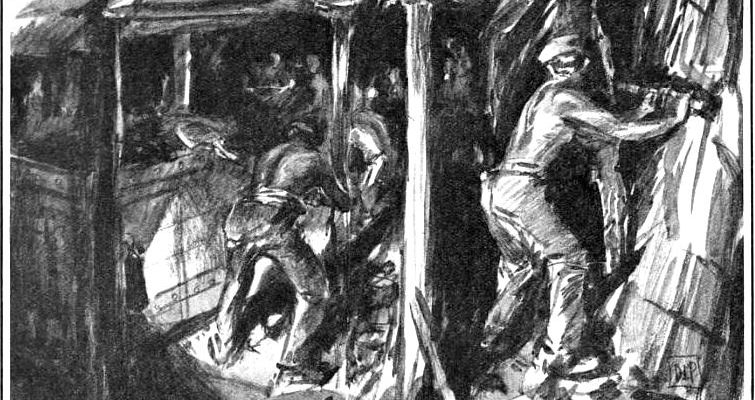 Derbyshire Miners Coal-getting at the Bolsover Face. Drawn by D Macpherson