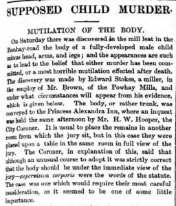 Supposed child murder Exeter